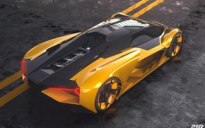 Picture rendering, Lamborghini, supercar, the view from the top, The Third Millennium