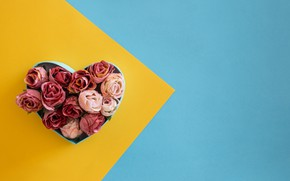 Picture background, box, heart, roses, pink, buds