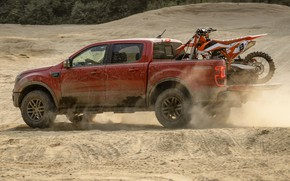 Picture sand, Ford, dust, motorcycle, side view, pickup, Ranger, Lariat, Tremor, 2021