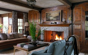 Picture style, England, interior, fireplace, classic, living room