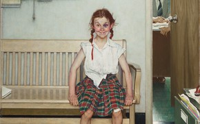 Picture Norman Rockwell, Norman Rockwell, The Young Lady with a Shiner, American painter and illustrator, American …