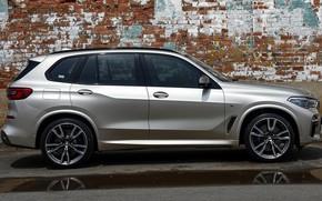 Picture car, grey, BMW, BMW, drives, side, wheel, X5M, BMW X5M, BMW X5M 2019