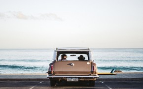 Picture Car, Woman, Sea, Man, Mood, Surf