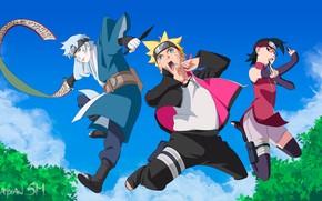 Picture children, anime, art, team, Naruto, Boruto, The Mizuki Shigeru road, Boruto Uzumaki, Sarada Uchiha