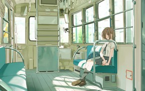 Picture sadness, girl, train, schoolgirl