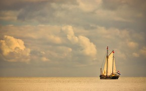Picture clouds, lake, ship, sailboat, Netherlands, water surface, Netherlands, Lake Markermeer, Lake Markermeer