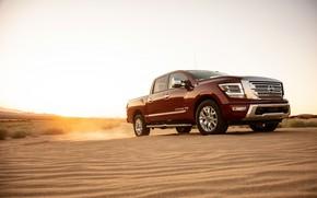 Picture sand, desert, dust, Nissan, pickup, 4x4, Titan, 2020, V8, Titan SL