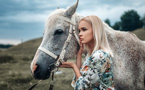 Picture portrait, nature, blonde, model, beauty, hairstyle, makeup, bokeh, Zhenya, mood, Phoenix21rus, horse, dress