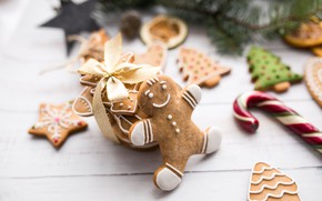 Picture decoration, New Year, cookies, Christmas, Christmas, wood, New Year, cookies, decoration, Merry, fir tree, fir-tree ...