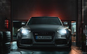 Picture Machine, Grey, AUDI, Garage, Car, Render, Rendering, The front, Grey, Transport & Vehicles, AUDI RS5 …
