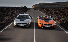 Picture road, coupe, BMW, Roadster, 2018, i8, i8 Roadster, i8 Coupe