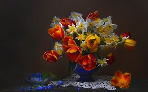 Picture background, bouquet, tulips, vase, napkin, daffodils, Muscari