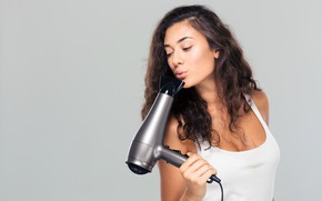 Picture girl, pose, background, makeup, Mike, hairstyle, lips, white, brown hair, beautiful, Hairdryer