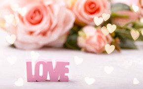 Picture Love, bouquet, background, hearts, roses, the inscription