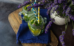 Picture tea, drink, mint, lemons, lavender