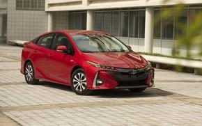 Picture Toyota, red, Prius, Prime, 2017–19
