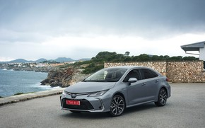 Picture sea, auto, coast, Toyota, Hybrid, Sedan, Corolla