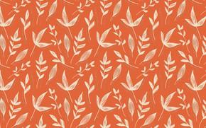 Picture leaves, orange, background, pattern, texture, point, ornament, different, повторение