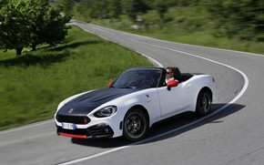 Picture grass, turn, Roadster, spider, black and white, double, Abarth, 2016, 124 Spider