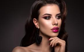 Picture girl, hand, portrait, makeup, hairstyle, girl, woman, hair, manicure, model, makeup, Korabkova