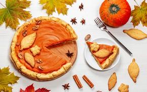 Picture autumn, leaves, pie, pumpkin, still life