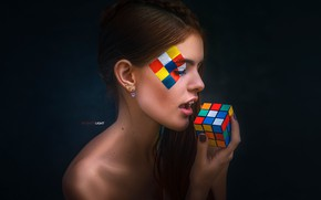 Wallpaper face, style, background, model, portrait, makeup, hairstyle, brown hair, beauty, Rubik's cube, Alexander Drobkov, Alexander ...