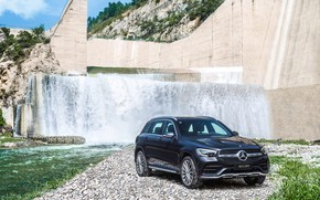 Picture auto, water, river, rocks, Mercedes-Benz, waterfall, GLC, 300 L
