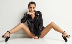 Picture look, pose, background, feet, jacket, sandals, Nicolas Verano, Nikolas Verano, Anastasia Leonova