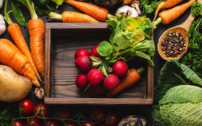 Picture harvest, box, vegetables, tomatoes, carrots, a lot, cabbage, spices, radishes