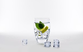 Picture water, glass, lemon, ice, mint