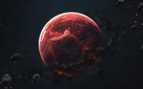Picture Red, Planet, Space, Red, Art, Space, Art, Planet, Universe, Galaxy, Asteroids, Science Fiction, Asteroids, Space, ...