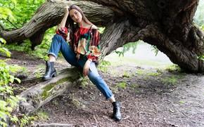 Picture girl, tree, model, Alessandra