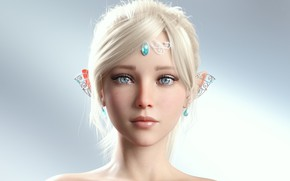 Picture girl, anime, beautiful, short hair, pretty, face, blonde, elf, princess, attractive, handsome, clear eyes