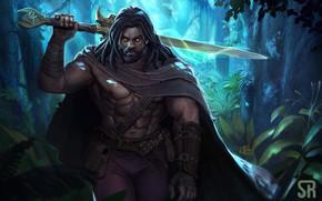 Picture forest, look, sword, warrior, Heimdall