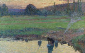 Picture landscape, picture, Henri-Jean Guillaume Martin, Henri Matrin, Laundress by the Water