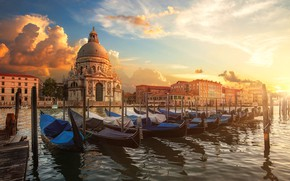 Picture water, the city, building, home, boats, morning, Italy, Church, Venice, Cathedral, channel, the dome, gondola, …