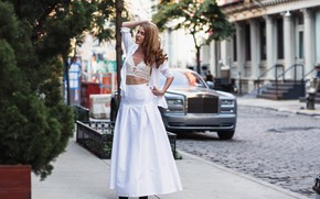 Picture girl, the city, pose, street, skirt, curls, Sergei Goncharov