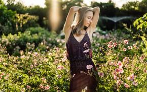 Picture summer, girl, flowers, pose, hands, dress, Andreas-Joachim Lins, Zita Elisabeth