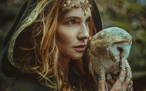 Picture look, girl, decoration, style, owl, bird, woman, portrait, fantasy, hood, Marketa Novak