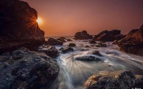 Picture sea, the sky, sunset, nature, stones, Indonesia, Anton Raharja
