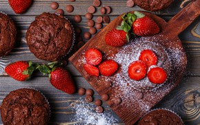 Picture berries, strawberry, cake, cupcakes, powdered sugar, chocolate, muffins