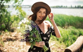 Picture look, the sun, landscape, flowers, nature, pose, river, model, portrait, bouquet, hat, makeup, dress, hairstyle, …