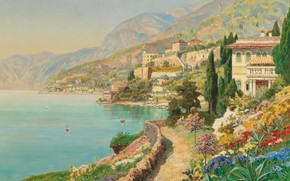 Picture Alois Arnegger, Austrian painter, Austrian painter, oil on canvas, Alois Arnegger, Scene from Sorrento, A …
