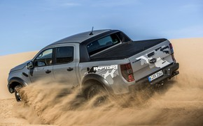 Picture sand, the sky, grey, movement, Ford, Raptor, pickup, Ranger, 2019