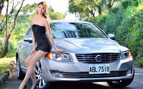 Picture auto, look, smile, Girls, Asian, beautiful girl, VOLVO, beautiful dress, posing on the car