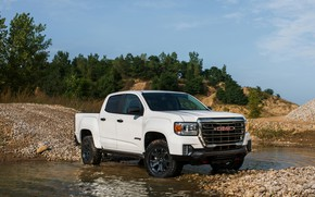 Picture water, stones, vegetation, pickup, GMC, Crew Cab, Canyon, AT4, 2020, 2021, Off-Road Performance Edition