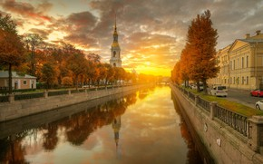 Wallpaper autumn, the sun, dawn, Church, channel, Saint Petersburg, Gordeev Edward