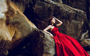 Picture look, girl, face, pose, stones, mood, rocks, plants, hands, Asian, sitting, red dress, huge, blocks