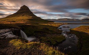 Picture the sky, grass, clouds, light, mountains, river, shore, view, mountain, waterfall, dal, the volcano, Iceland, …