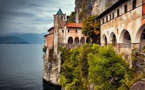 Picture landscape, rock, lake, Italy, the monastery, Maggiore